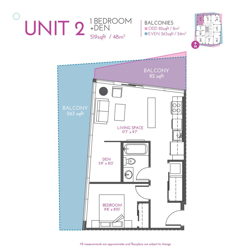 Unit 2 INK One Bedroom 2B Den